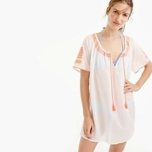 NEW/WT J Crew Embroidered Tie-front Tunic White S
